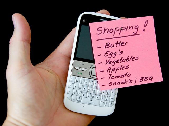 seznam na nákup