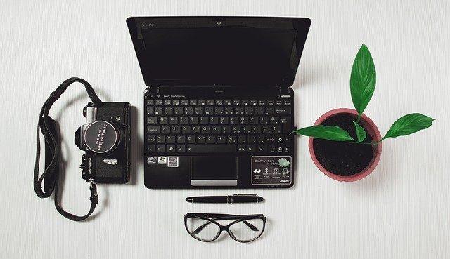 notebook, květina, fotoaparát