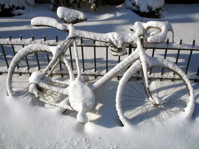kolo zasypané sněhem